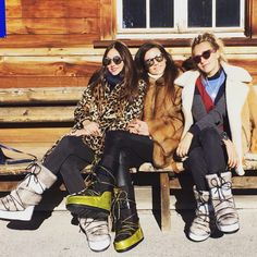 Gstaad revellers in Jimmy Choo moon boots