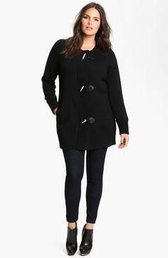 MICHAEL Michael Kors Toggle Sweater Coat with Detachable Cowl (Plus) available at #Nordstrom