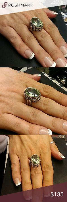 14cts Green Amethyst Samuel Behnam 925 Sterling Flash Sale:$105 Stunning genuine 14 carat Green Amethyst Samuel Behnam Artisan 925 sterling silver ring. Stamped BJC Size 6 Samuel B. Jewelry Rings