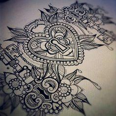 Art. Heart. Flower. Drawing.