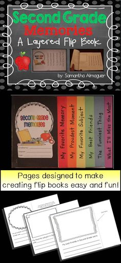 Your students will love creating these unique and adorable Second Grade Memory flip books. A layered flip book is one that has pages which get progressively larger from short to long, inch by inch (see photos for examples). Makes a great end-of-year project!