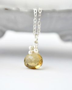 Citrine and Pearl Pendant Necklace / Sterling Silver Citrine Necklace / Wire Wrapped Citrine Briolette / Yellow Gemstone Pearl Necklace