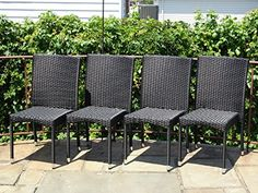 Set of 4 Patio Resin Outdoor Garden Deck Wicker Dining Side Chairs.