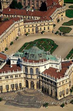 Italy, Turin, - The Stupinigi Royal Palace, aerial view in Turin Piedmont, Italy