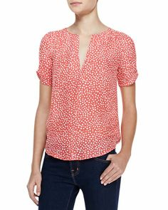 Amone+Heart-Print+Short-Sleeve+Blouse+by+Joie+at+Bergdorf+Goodman.