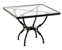 SIFAS in-outdoor living furniture : Collection KROSS (table repas carrée avec plateau verre / square dining table incl. glass top)