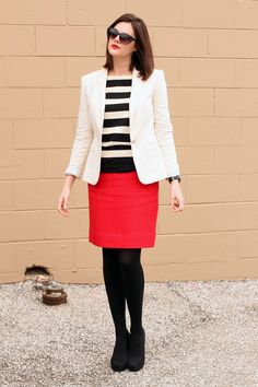 White blazer idea...wear with striped top and red pants - My interpretation: http://looplooks.wordpress.com/2012/04/25/brighten-up-2/