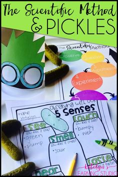 Science lessons and activities to teach the scientific method to elementary students using pickles. Fun science unit with engaging activities.