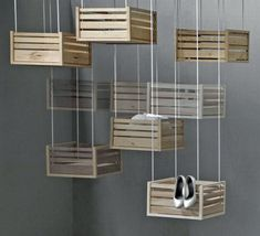"Hailed ""Hoog en Droog"" (High and Dry), the innovative storing system proves the ingenuity of Jephte Francissen. Comprising of different wooden storage crates that can be hoisted up to the ceiling using a clock spring, the storage design asks for no extra room in your small apartment."