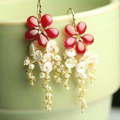 July Birthstone Flower Earrings Ruby Pearl Keshi Pink Lush Cluster Dangle