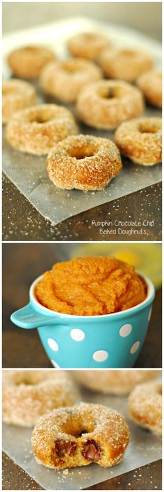 Baked Pumpkin Chocolate Chip Doughnuts are perfect for fall. This baked doughnut recipe is easy to make.