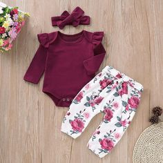 [originRuffle Crimson Romper and Floral Pants with Headband - Sewing For Kidsal_title] - Baby Outfits Baby Girl Fashion, Fashion Kids, Fashion Top, Floral Pants, Long Sleeve Romper, Ruffle Sleeve, Flutter Sleeve, Matching Family Outfits, Baby Outfits Newborn