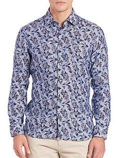 Saks Fifth Avenue Collection Floral Linen Sportshirt - Dark Blue - Siz