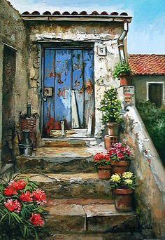 francesco mangialardi in 2019 Old Doors, Beautiful Paintings, Painting Inspiration, Home Art, Painting & Drawing, Watercolor Paintings, Watercolors, Artsy, Drawings