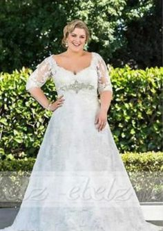 2016 Plus Size White/Ivory Bridal Gown Lace Wedding Dress 16 18 20 22 24 26+++