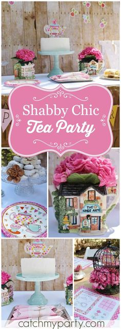 What a pretty tea party which mixes rustic elements with soft details! See more party ideas at http://CatchMyParty.com!