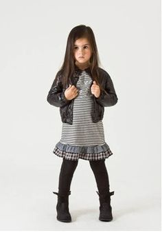 A sweet dress with a leather jacket. Actually, I'd like this outfit for me too!