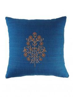 Blue Floral Gota Patti Cushion Cover - 16in x 16in
