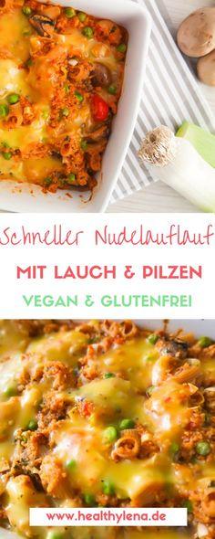 Heute habe ich etwas besonders schmackhaftes Rezept für dich in petto: einen schnellen veganen Nudelauflauf mit Lauch und Pilzen, der perfekt den Herbstanfang einläutet. Die Soße, die total spontan entstanden ist, sorgt hier für das gewisse Etwas. Einfach mal nachmachen: vegan, glutenfrei & ohne Soja!