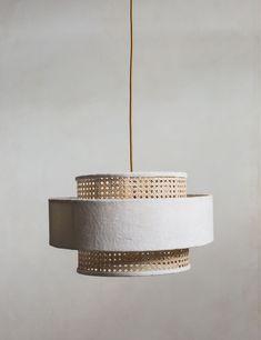 Velvet & Bamboo Pendant Lamp Shade - White This stunning lamp shade perfectly combines velvet and ba Diy Pendant Light, Contemporary Pendant Lights, Pendant Lighting, Boho Lighting, Pendant Lamps, Lighting Ideas, Jar Chandelier, Industrial Pendant Lights, Diy Light