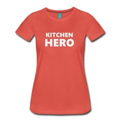 T-Shirts, Hoodies, Sleeve shirts, Long sleeves, Beanies and other clothing in varios colors with the 'Kitchen-Hero' design.