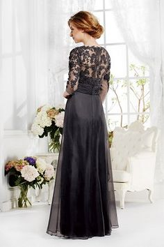 Elegant Long Sleeve Lace Gray Mother of the Bride Dress Formal Evening Gowns Mob Dresses, Ball Dresses, Ball Gowns, Bride Dresses, Chiffon Dresses, Chiffon Gown, Party Dresses, Unconventional Wedding Dress, Long Sleeve Gown