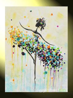 "GICLEE PRINT Art Abstract Painting Dancer Blue Aqua CANVAS Prints White Yellow Teal- Sizes to 60"" - Christine Krainock Art - Contemporary Art by Christine - 1"