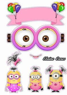 Minion Birthday, Minion Party, Girl Birthday, Minion Template, Girl Minion, Baby Clip Art, Baby Cards, Scrapbook Paper, Hello Kitty