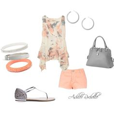 Grey, White, and Coral, created by ashlee470