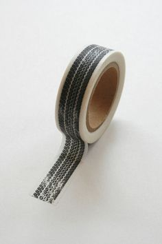 Washi Tape  15mm  Black Tire Tread on White  Deco by InTheClear, $3.95