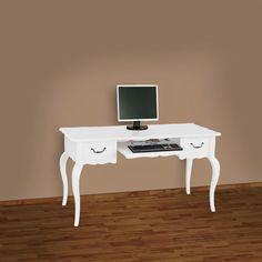 Schreibtisch SIENNA weiß B140cm Pinie Massivholz - Verspielt und mit Liebe zum Detail bereichert dieser Schreibtisch im Landhausstil Ihre Wohnlandschaft! Traditionelle Handwerkskunst und edles Holz formen die Silhouette dieses Möbelstücks. Mit diesem Schreibtisch wird die Arbeit zum Vergnügen!