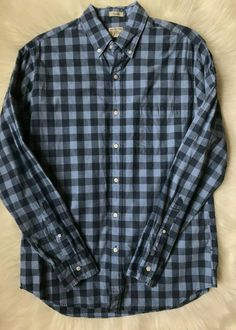 7596b9cb480 J Crew Size M Blue Heather Poplin Plaid Secret Wash Classic Long Sleeve  Shirt
