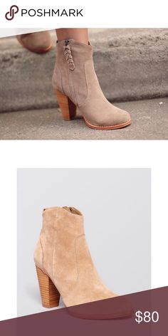"""Joie Dalton Stacked Booties Labeled size 10, fits a 9.5 best. """"Subtle, Western seaming adds casual flair to a pair of go-with-everything Joie booties, in rich suede."""" These are used condition, some stains on the suede and a small spot has been scraped on the inner area of the stacked heel. It isn't visible when worn because it is on the inside. Pictures pending! Joie Shoes Ankle Boots & Booties"""