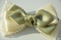 Ivory teens hair bow - olive women hair bow - hair accessory - girl hair clip - french barrette clip.