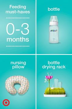 Welcoming your new baby home is a huge event! Make sure you're prepared for the first months with all the baby feeding necessities, whether you're breast-feeding or bottle-feeding. Check out Target.com to see our 0–3 month feeding registry must-haves starter list.