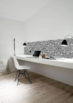 A long bench desk is just what we are hoping to have >> Kitchen Wall - wallpaper | Daisies & Pie Using Kitchen Wall wallpaper to add a splash of vibrant interest to the home office - wallpaper is pvc water & heat resistant!