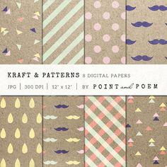 Kraft Hipster Digital Paper by Point and Poem on Creative Market #designtools #pattern