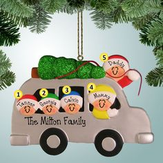 PersonalizedFree.com - Family in Vehicle with Tree - 5 Personalized Christmas Ornament, $15.99 (http://personalizedfree.com/family-in-vehicle-with-tree-5/)