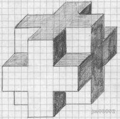 Dibujos Sencillos 8 Graph Paper Drawings, Graph Paper Art, Cool Art Drawings, Pencil Art Drawings, Art Drawings Sketches, Easy Drawings, 3d Art Drawing, Geometric Drawing, Drawing Lessons