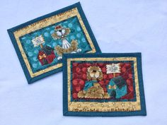 Quilted Mug Rugs Set of Two Dog Snack Mat by PatsPassionQuilteds
