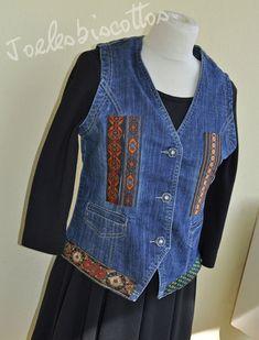 Tout de galons vêtus, petit gilet mixte en jean, customisé JoeLesBiscottos Denim Waistcoat, Jeans, Breast, T Shirt, Stripes, Spandex, Sewing, How To Wear, Jackets