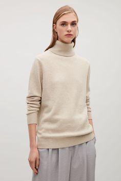 COS image 20 of High-neck cashmere jumper in Light beige