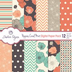 Digital Floral Paper Pack - Poppies Coral Navy Mint by ShaleceElynne, $4.99
