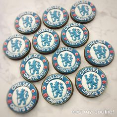 Chelsea Football, Chelsea Fc, Football Cookies, Happy 21st Birthday, Birthday Cookies, Mavis, Decorated Cookies, Cookie Decorating, Fan