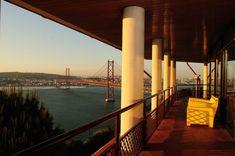 The best Lisbon bridge view! Stay at Pousada de Juventude de Almada to get this! #almada #lisbon #portugal #urbanhostel #beautifulbridges #wheretostay #youthhostels #pinterestinspired #ponte25deabril #view #river #tagusriver #landscape #sunset Hostel, San Francisco Skyline, Urban, River, Sunset, Landscape, Beautiful, Lisbon Portugal
