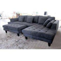 3pc New Modern Dark Grey Microfiber Sectional Sofa Chaise Ottoman Set S168R
