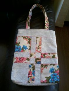 Eco bag com disappearing Four Patch. Feito por mim.