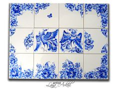 Hand painted tiles, Blue and white ceramics, Home decor, kitchen tiles