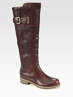Belle by Sigerson Morrison - Leather Motorcycle Knee-High Boots -
