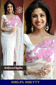 We are here with Bollywood replica sarees!!  Shilpa Shetty Bollywood Replica White and Pink Net Saree with Embroidery